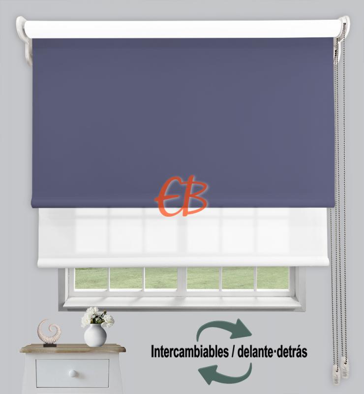 Estor doble enrollable Azul Acero CAB18/ Blanco CA00