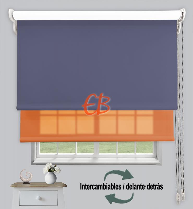 Estor doble enrollable Azul Acero CAB18/Naranja CA20