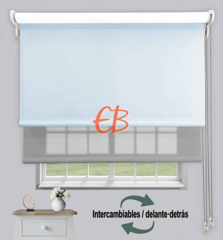 Estor doble enrollable Azul claro CAB24/Gris claro CA11
