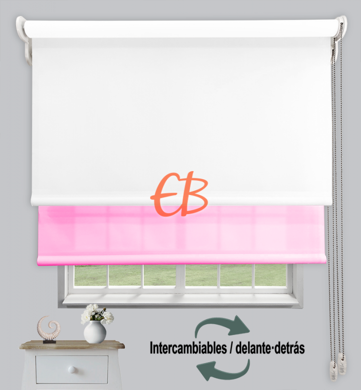 Estor doble enrollable Blanco CAB00/Rosa Chicle CA19