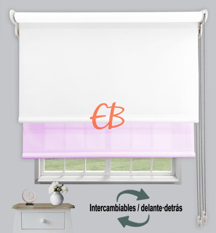 Estor doble enrollable Blanco CAB00/ Violeta CA23