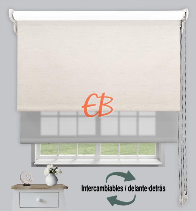 Estor doble enrollable Lino BL210 / Gris claro CA11