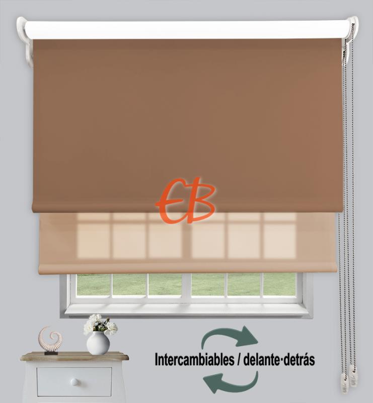 Estor doble enrollable Marrón CAB22/Marrón cl CA16