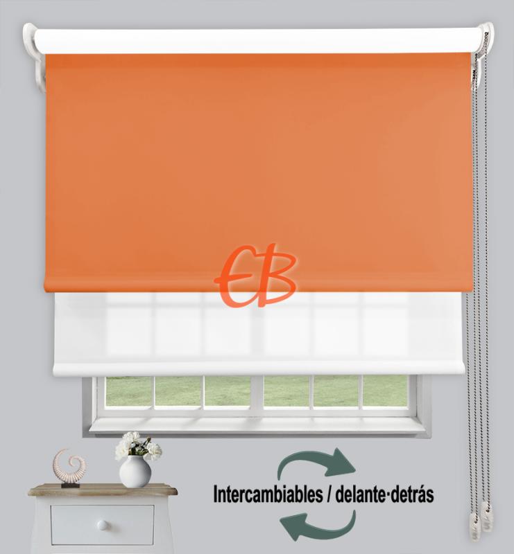 Estor doble enrollable Naranja CAB20 / Blanco CA00