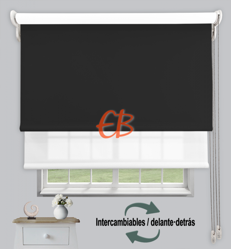 Estor doble enrollable Negro CAB13 / Blanco CA00