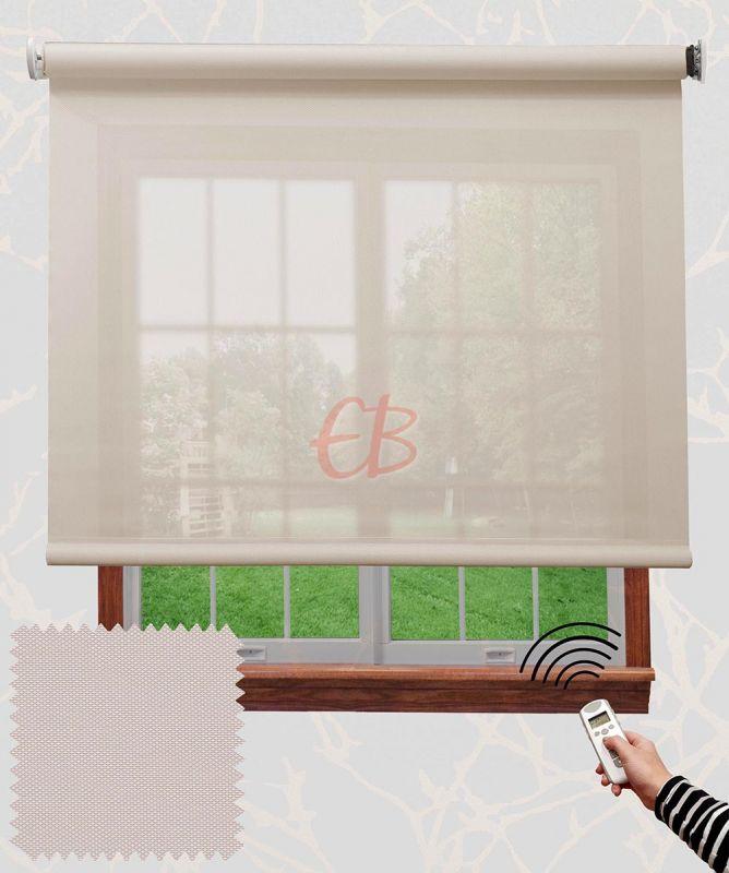 Estor enrollable motorizado Screen Blanco lino 01