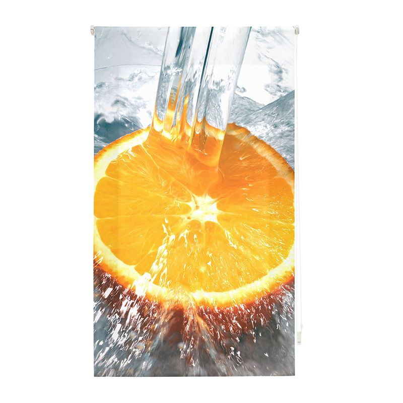 Estor enrollable cocina agua sobre naranja