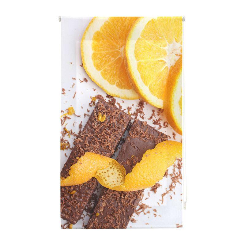 Estor enrollable cocina chocolate con naranja