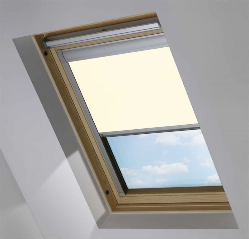 cortina para velux opaco crema
