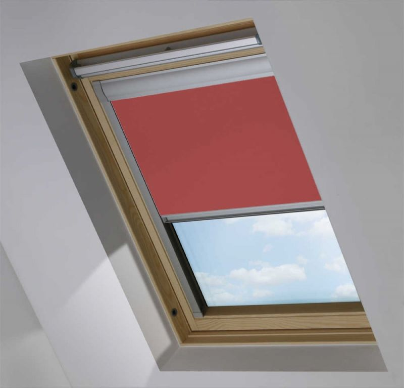 cortina de tejado para ventana velux opaco color rosa rojizo