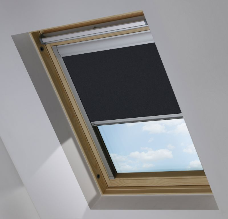 Cortina ventana tejado enrollable negro compatible con Velux