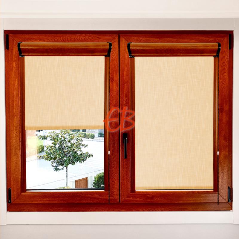 Enrollable marco ventana traslúcido efecto tela amarillo