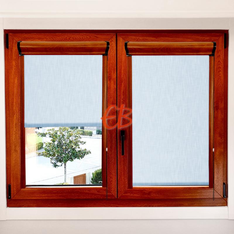 Enrollable marco ventana traslúcido efecto tela azul claro