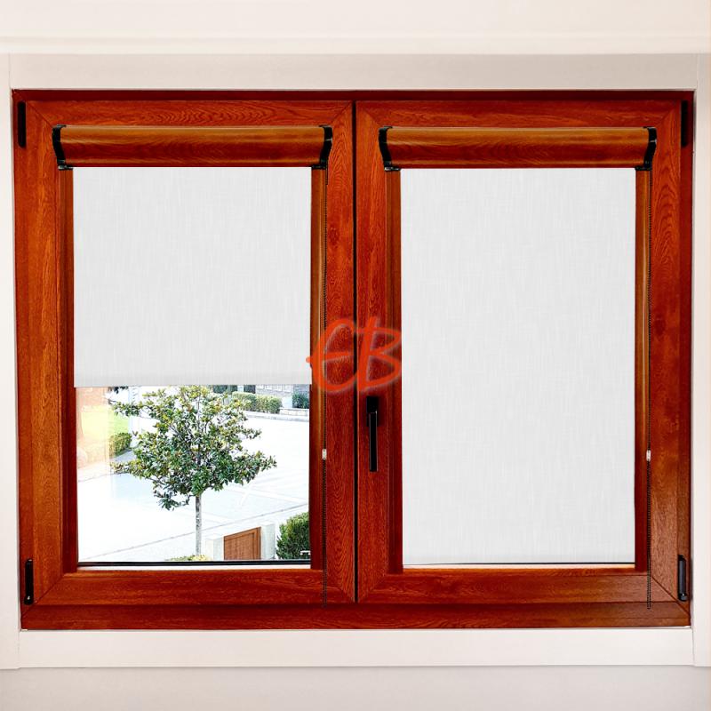 Enrollable marco ventana traslúcido efecto tela blanco roto