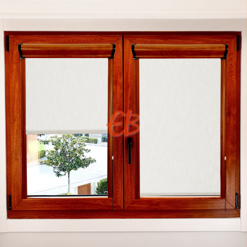 Enrollable marco ventana traslúcido efecto tela crudo