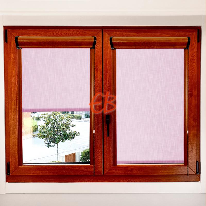 Enrollable marco ventana traslúcido efecto tela rosa