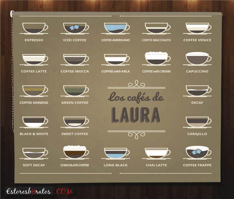 Estor enrollable cocina con tu nombre cafés