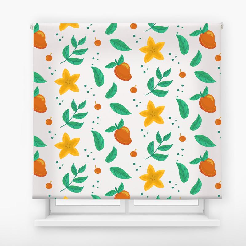 Estor enrollable cocina diseño frutas y hojas