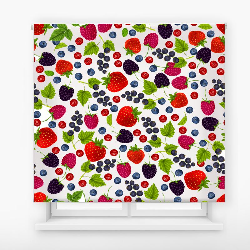 Estor enrollable cocina diseño mosaico frutos rojos