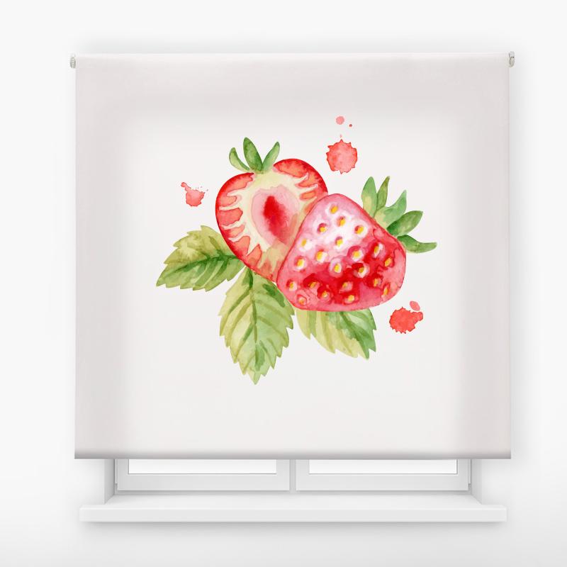estor enrollable cocina ambient fruits fresas acuarela
