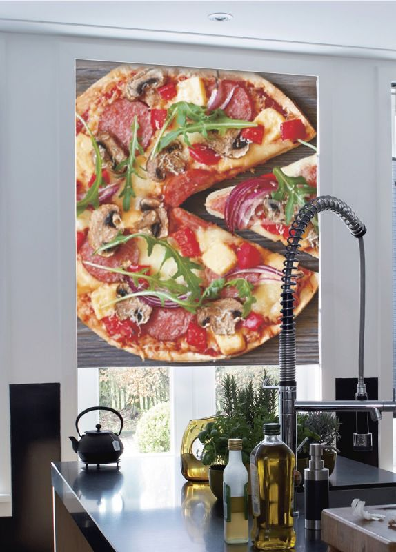 Estor enrollable cocina pizza