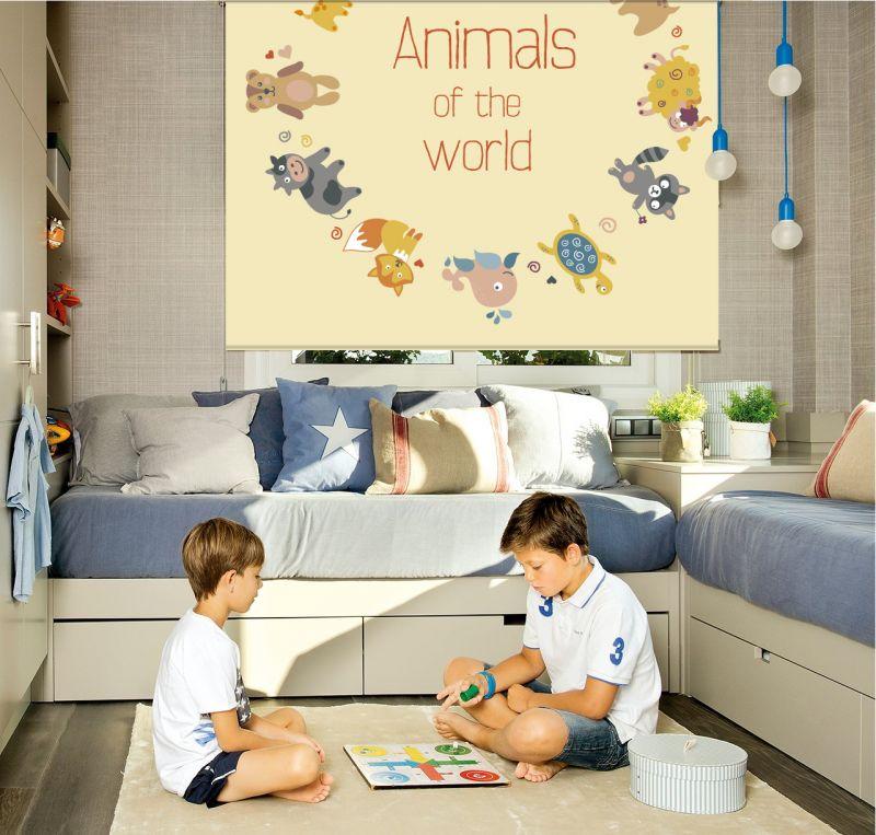 Estor enrollable infantil animales del mundo