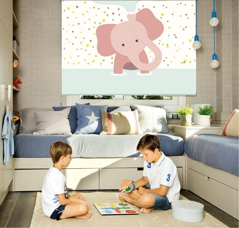Estor enrollable infantil elefante rosa