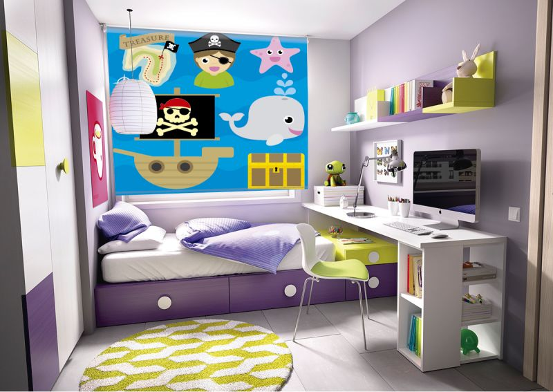 Estor enrollable infantil iconos piratas azul