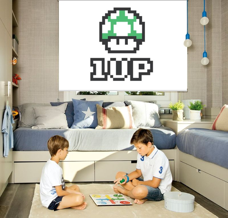 Estor enrollable juvenil videojuego mario bross 1up