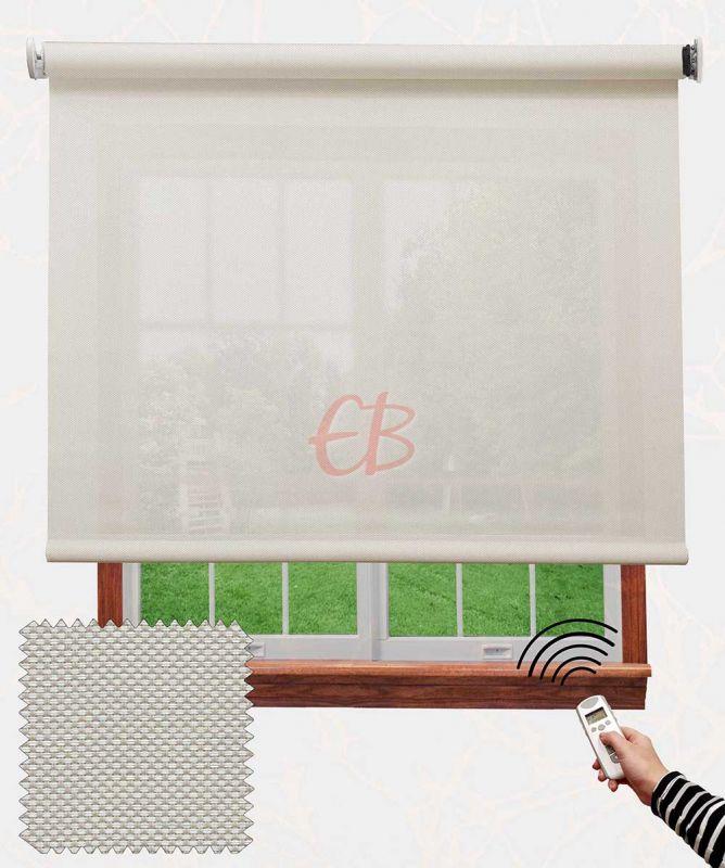 Estor con motor EcoScreen fibra de vidrio Blanco lino B50220