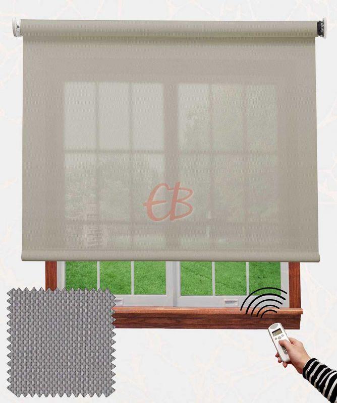 Estor con motor EcoScreen fibra de vidrio Perla lino B50720