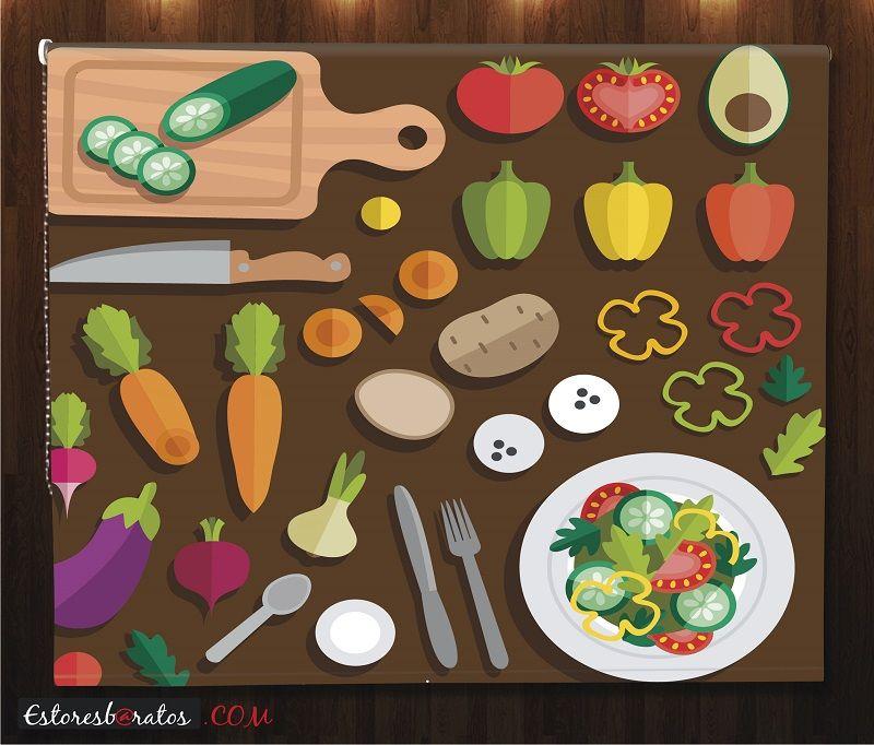 estor cocina impresión digital vegetales