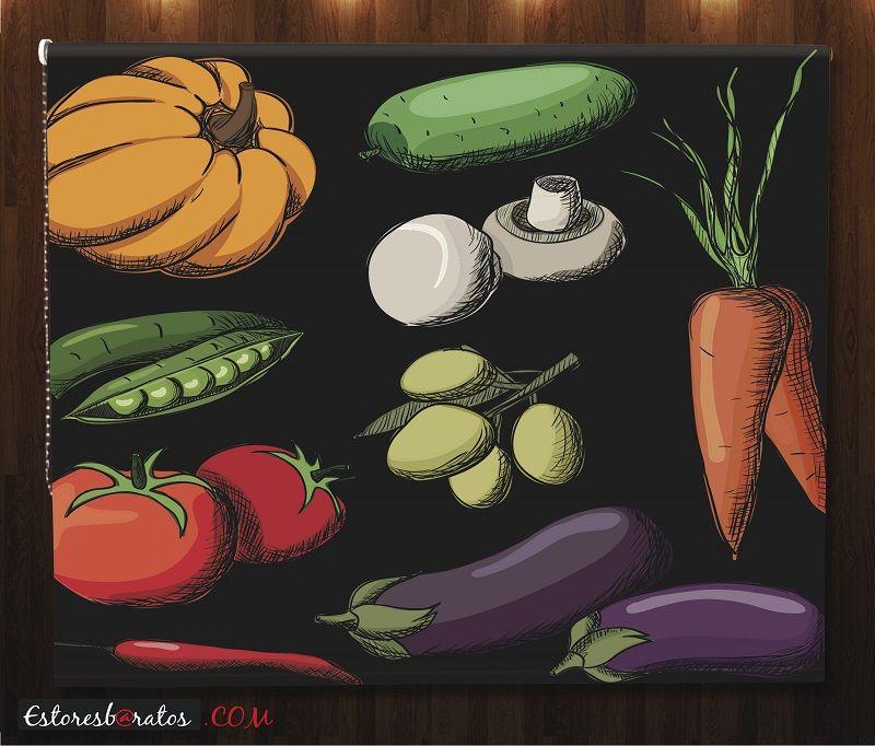 estor cocina impresión digital verduras