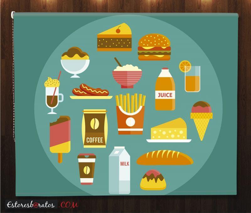 estor enrollable estampado digital ref comida rápida iconos