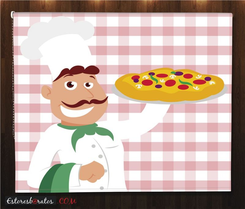estor enrollable estampado digital ref chef pizza