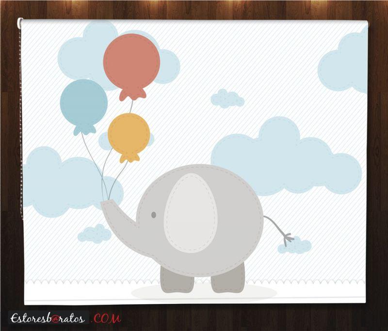 estores enrollables para bebes a medida elefante