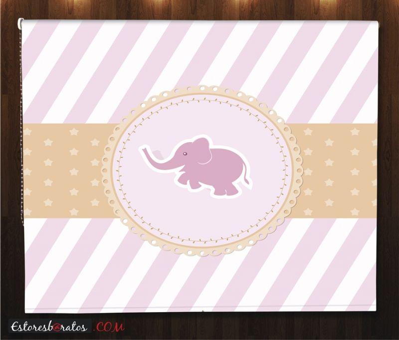 estores enrollables para bebes a medida elefante rosa