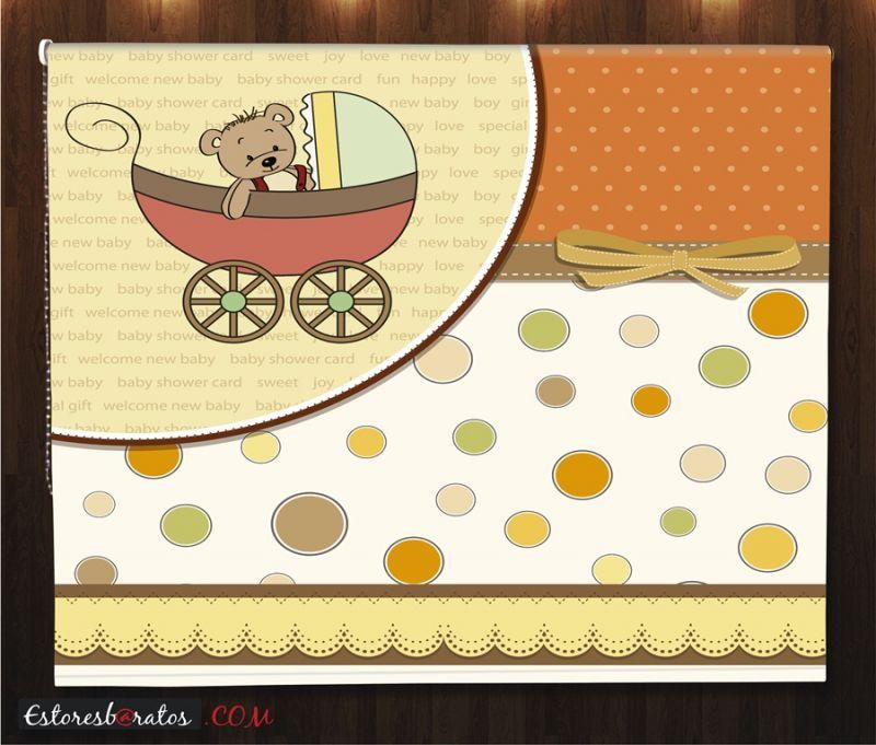 estor enrollable habitación bebé teddy bear diseño carrito
