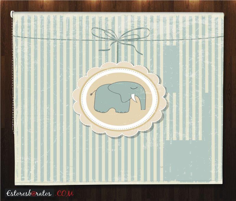 estor enrollable habitación bebé teddy bear diseño elefante