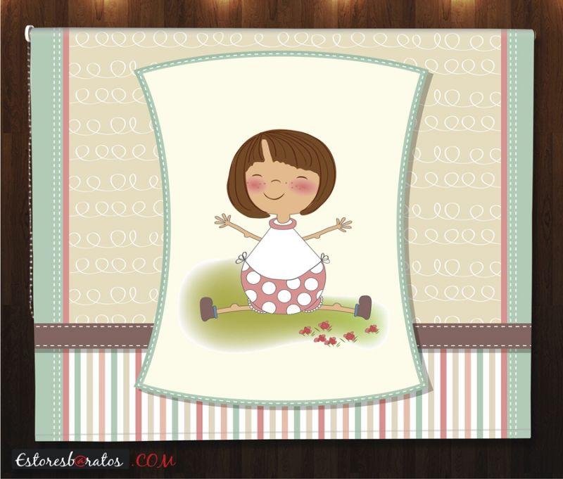 estor enrollable habitación bebé teddy bear diseño niña