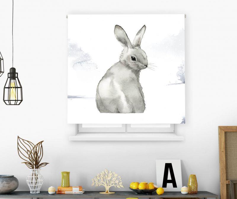 Estores impresión digital Acuarela Conejo gris