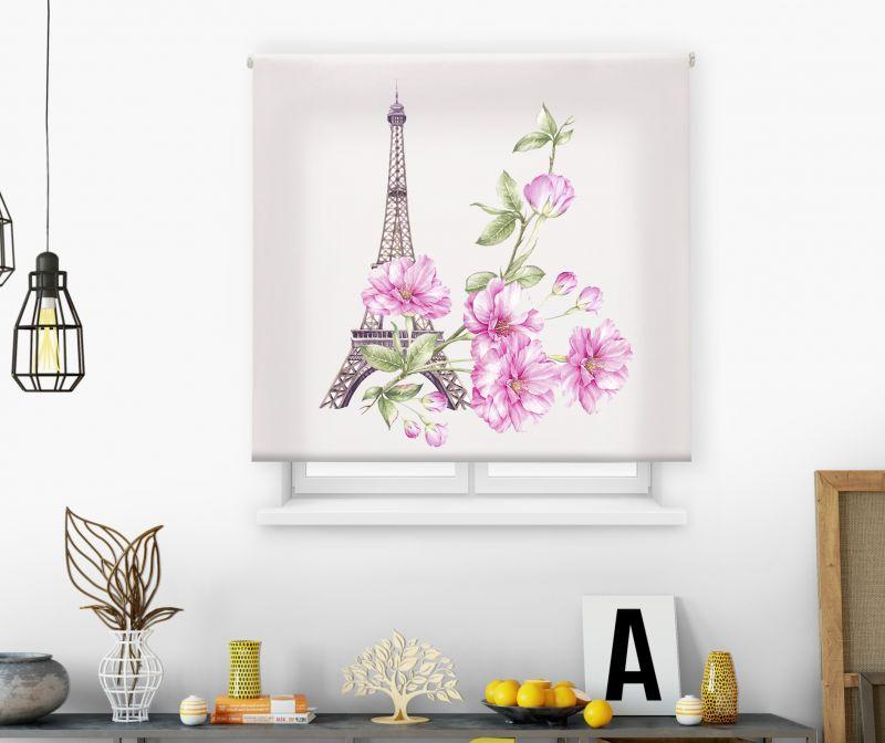 Estores impresión digital Acuarela Eiffel flowers