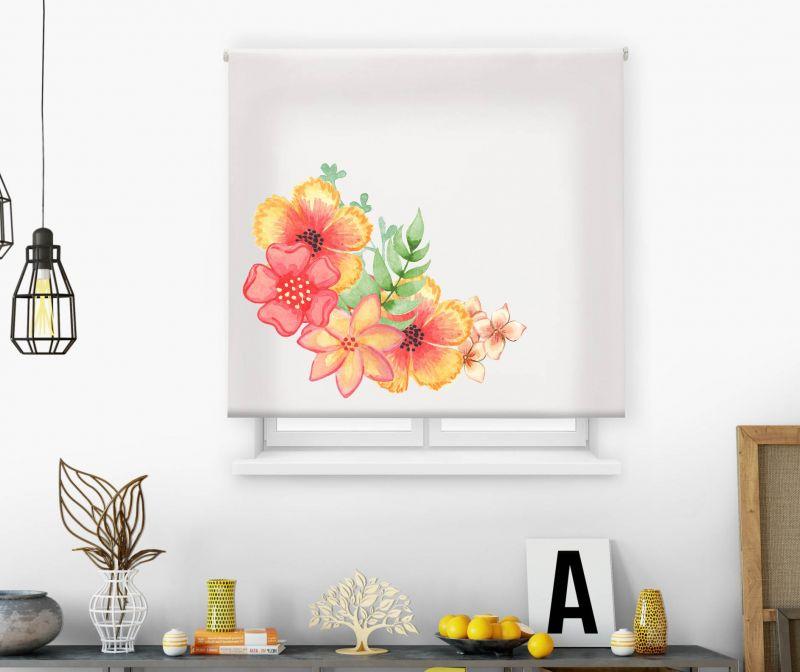Estores impresión digital Acuarela Flores naranjas