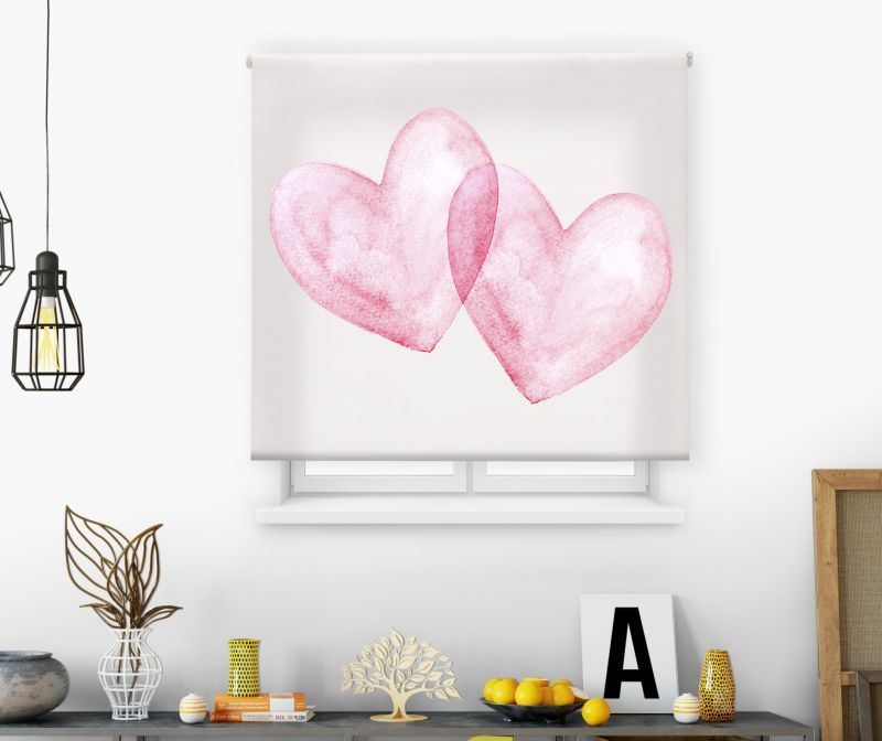 Estores impresión digital Acuarela Doble corazón