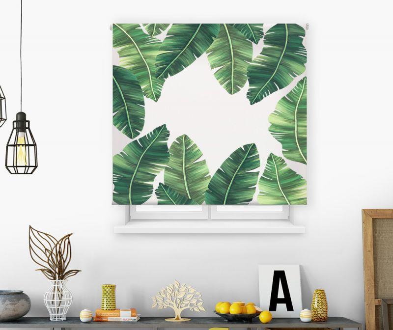 Estor impresión digital Acuarela Hojas verdes