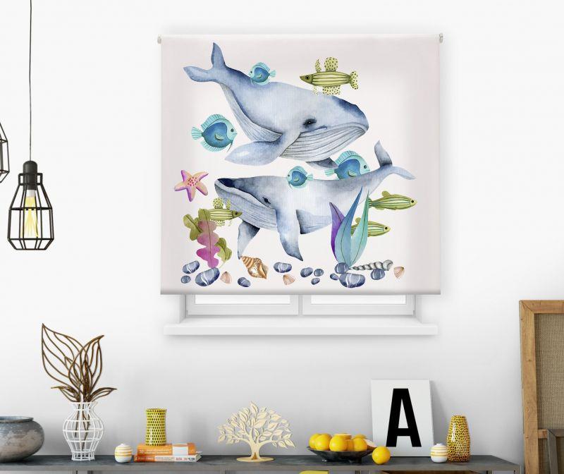 Estores impresión digital Acuarela Ballenas y peces