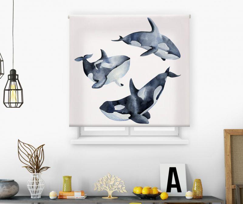 Estores impresión digital Acuarela Orcas