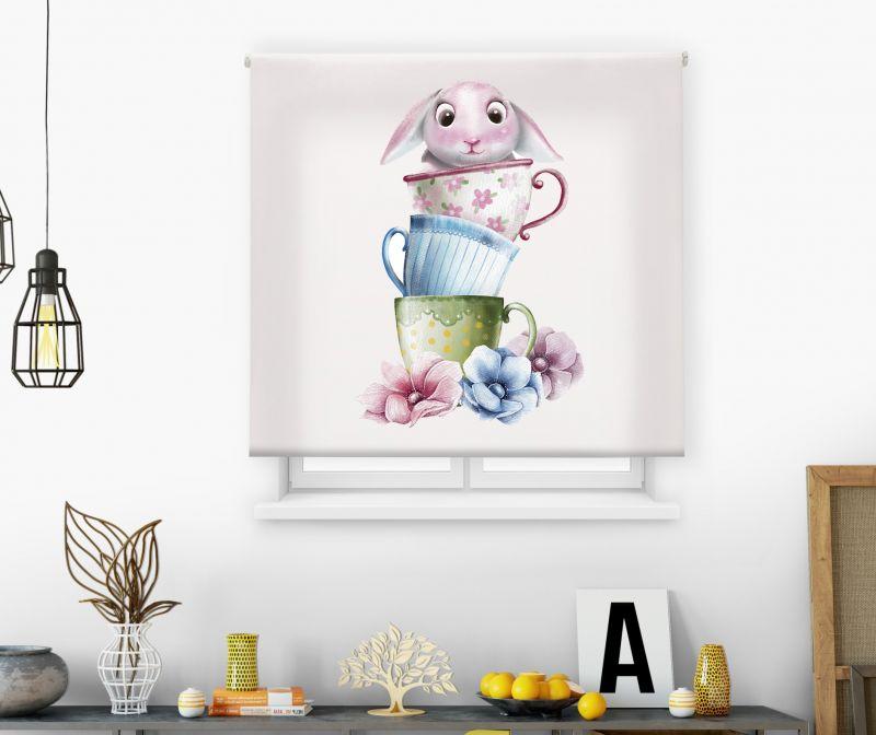 Estores impresión digital Acuarela Tazas conejo