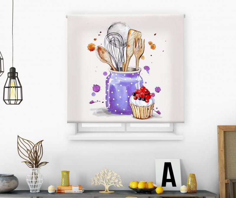 Estores impresión digital Acuarela Utensilios cocina