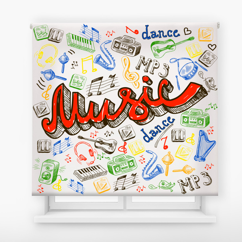 Estor enrollable juvenil Extreme Colors Music 2